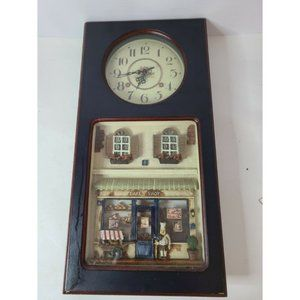 Shadow Box Glass Wood Wall Clock Bake Shop Dining